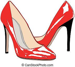 par, sapatos, vermelho