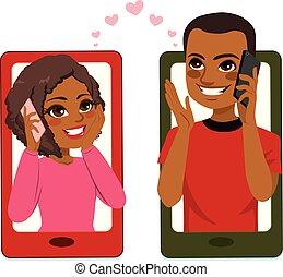 par, smartphone, amor