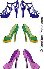 par, três, sapatos