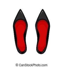 par, vetorial, pretas, sapatos, patente, insoles., vermelho, illustration., couro