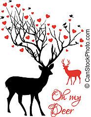 par, vetorial, veado, vermelho, corações