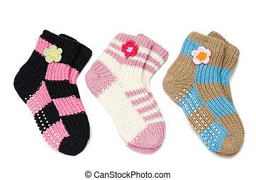 par, woolen, três, meias