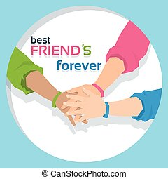 para sempre, amizade, amigos, junto, passe segurar, bandeira, dia, melhor