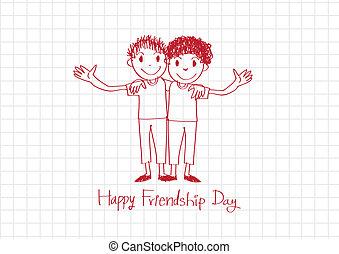 para sempre, amizade, idéia, desenho, amigos, dia, melhor, feliz