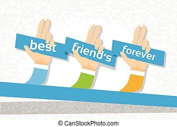 para sempre, grupo, amizade, amigos, mão, bandeira, dia, melhor