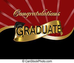 parabéns, gráfico, graduado