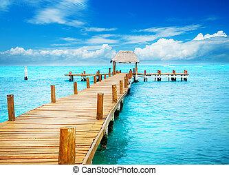 paradise., trópico, mujeres, férias, jetty, méxico, isla