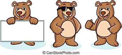 pardo, mascote, urso, feliz