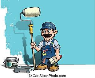 parede azul, handyman, -, uniforme, pintor