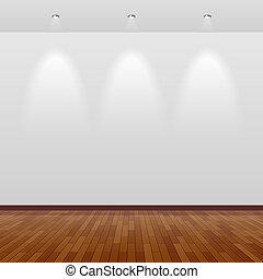 parede, branca, madeira, sala, vazio