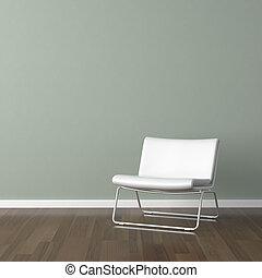 parede, branca, modernos, cadeira verde