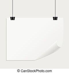 parede, cartaz, papel, poster., penduradas