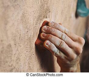 parede, cima, jovem, ginásio, escalando, fim, mão, homem