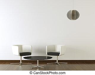 parede, desenho, interior, pretas, branca, mobília