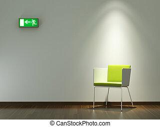 parede, desenho, interior, verde branco, cadeira