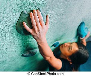 parede, escalando, ginásio, mulher, cima