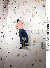 parede, escalando, homem