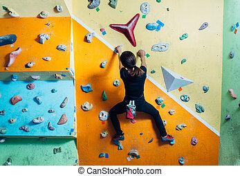 parede, escalando, menina, indoor, cima