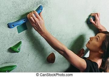 parede, indoor, cima, escalar rocha, menina