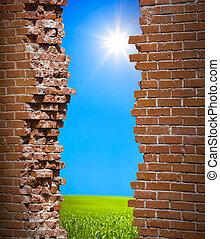 parede, liberdade, conceito, breaken
