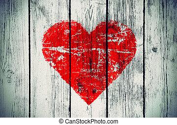 parede madeira, símbolo, amor, antigas