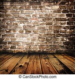 parede, madeira, tijolo, grunge, chão