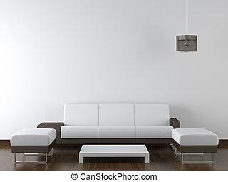 parede, modernos, desenho, interior, branca, mobília