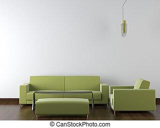parede, modernos, desenho, interior, verde branco, mobília