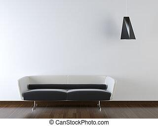 parede, modernos, sofá, desenho, interior, branca