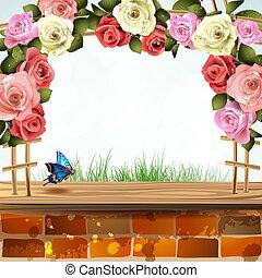 parede, rosas, tijolo