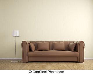 parede, sofá, cor, lâmpada, bege, interior, mobília