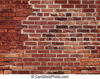 parede, tijolo, antigas, vermelho