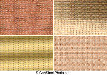 parede, tijolo, collage.