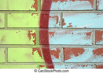 parede, tijolo, graffiti, coloridos