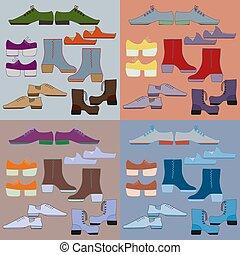 pares, diferente, seis, sapatos, jogo