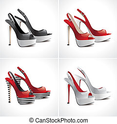pares, jogo, sapatos, sandálias, 4