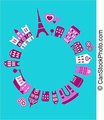 paris, mundo, vetorial, -, ilustração