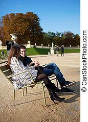 paris, par, namorando, jardim, luxemburgo