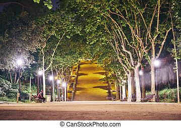 parque, barcelona, noturna