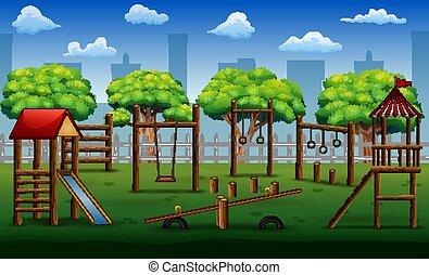 parque, brinquedos, crianças, pátio recreio, cidade