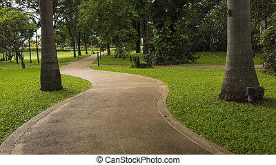 parque concreto, maneira, passeio