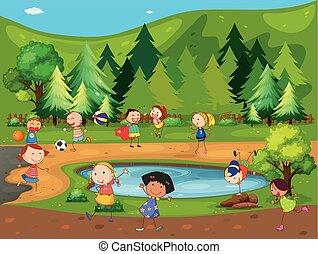 parque, crianças