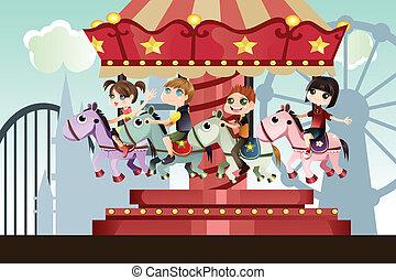 parque, crianças, divertimento