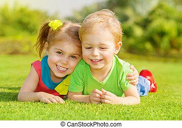 parque, crianças, feliz
