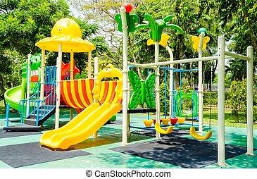 parque, crianças, pátio recreio