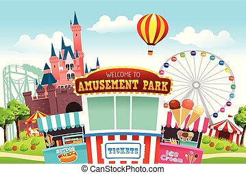 parque, divertimento, ilustração