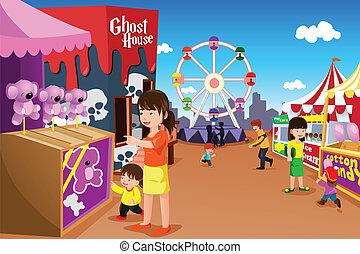 parque divertimento, tocando, família