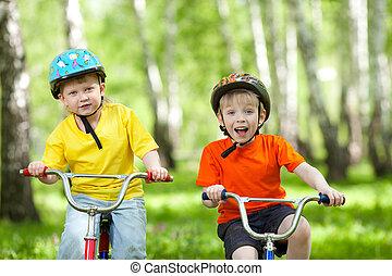 parque, feliz, bicicleta, verde, crianças