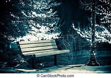 parque, inverno, banco