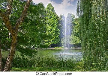 parque, lago